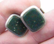 Antique .835 Silver Bloodstone Cufflinks Set