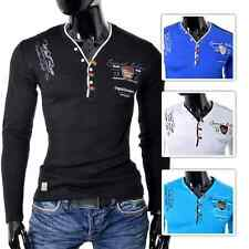 Mens V-Neck Long sleeve Jumper Top Embrioded Inscriptions Stretchy Cotton New
