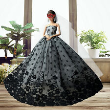 New Black Lace Princess Wedding Evening Party Dress For Barbie Doll Nice Gift