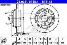 2x Bremsscheibe für Bremsanlage Hinterachse ATE 24.0311-0145.1