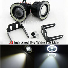 "2 Pcs COB 3.5"" Universal Projector LED Fog Lights Lamps Halo Angel Eyes Rings UK"
