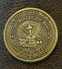 """I Corp """"Americas Corp"""" U.S. Army 225th Bday Challenge Coin (VINTAGE ~ AUTHENTIC)"""