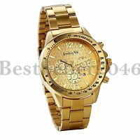 Luxury Mens Gold Tone Stainless Steel Analog Quartz Date Business Wrist Watch