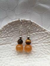 Handmade Sterling Silver Gemstone Drop Earrings Orange Quartz And Tigers Eye
