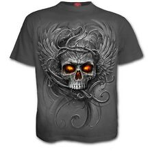 SPIRAL DIRECT Roots of Hell Kids/Boys/Child GREY T-shirt/Top biker/skull/tattoo