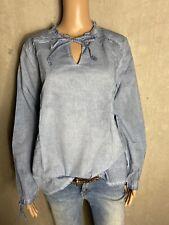 CONLEYS BLUE ~tolle Bluse mit Wascheffekten in blau ~ NEU Gr 44 XXL 2392de