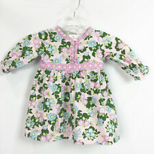Hanna Andersson Girls Size 80 US 2 Dress Pink Floral Long Sleeve Multicolor