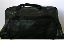 NEW Truck Enterprises 100% Black Leather Duffle Gym Carry-on Luggage Bag 19.75""
