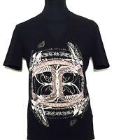 JUST CAVALLI T-Shirt V-Neck schwarz black nero Print S XXL Neu Etikett NP 130€!