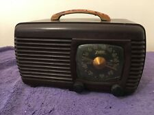 Serviced WWll WW2 Antique Zenith 6-D-510 Portable Bakelite Table Tube Radio
