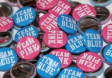 "50 Baby Shower 1"" Pinbacks - Team Pink Team Blue - Gender Reveal Party Favors"