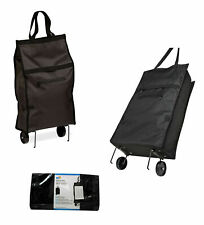 BRAND NEW Rolling Fabric Fold up bag cart in Black #Crt-05978 Holds up to 40 Lbs