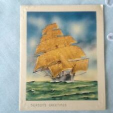 Vintage Christmas Card  Ship Sugared Sails Embossed Waves and Corners