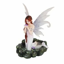White Water Princess Fairy Kneeling in Pond Mystical Statue Figurine