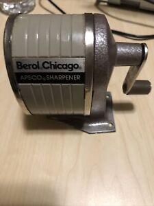 VINTAGE BEROL CHICAGO APSCO PENCIL SHARPENER METAL Desk Mount.