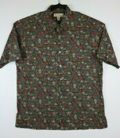Tori Richard Honolulu Mens M Cotton Lawn Abstract Print Short Sleeve Button Up