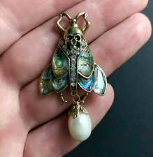 Broche Pin Insecte Scarabée Motif Coquille Abalone Perle Culture Baroque XZ13