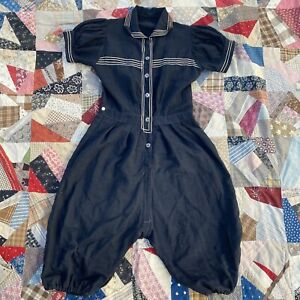 Antique Edwardian Black & White Jumpsuit Bathing suit Abalone Buttons Nautical