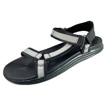 Sperry Regatta Mens 2 Strap Sandals Black/Gray Leather/Canvas Size 12M NEW