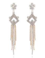 "Gold Clear Crystal Teardrop Dangle Earrings Drag Queen Pageant Stud New 5 1/2 """