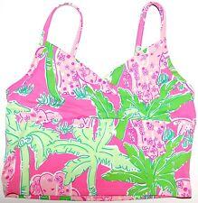 Girls' Lilly Pulitzer Tankini Top Sz S Pink Green Taboo Elephants Palm Tree Swim