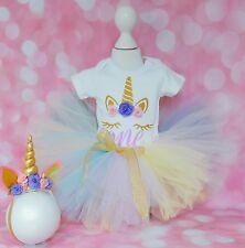 baby girl first 1st birthday outfit  tutu cake smash photo shoot unicorn party