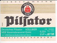 1  Bieretikett  Greiz Pilsator  DDR