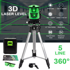 360° Rotary 3D Green Laser Level  5 Lines Self Leveling Cross Measure Tool Kit