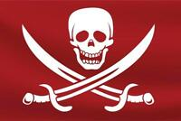 Red Pirate Flag with Swords Art Print Poster 24x36 inch