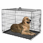 Metal Pets Dog Crate Double Door Folding Metal Dog Crates Fully Equipped Black