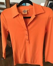 Tory Burch Orange Button Down Polo NEW size  S