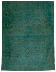Contemporary T a b r i z HJR35 Green Botanic Hand Knotted Wool Rug N10097