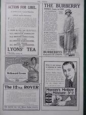 1914 ADVERTS BURBERRYS, LYON'S TEA LIPTON LIBEL ACTION, ROVER CARS,  WW1 WWI