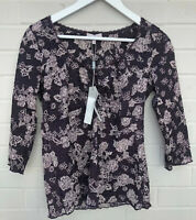 NEW PER UNA M&S Size 10 Purple Lace Floral Blouse Top 3/4 Sleeve V Neck RRP£25