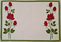 VINTAGE AUTHENTIC FLORAL ART ROSES PRINT WHITE RED GREEN COTTON COASTER DOILY