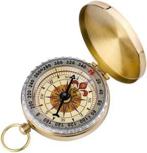 Messing Taschenuhr Kompass Camping Wandern Navigation Schlüsselbund DHL