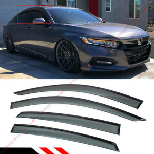 FOR 2018-2021 HONDA ACCORD CLIP-ON BLACK TRIM WINDOW VISOR RAIN GUARD DEFLECTOR