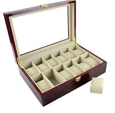 Wooden Watch Box 12 Slots Red Feibrand Storage Case Organizer Accessories Kit