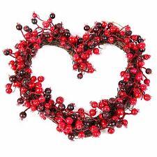 Christmas Handmade Hanging Door Xmas Wreath - 30cm Festive Red Berry Heart