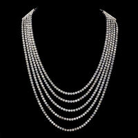 ART DECO FIVE STRAND PASTE STONE NECKLACE SILVER CIRCA 1920
