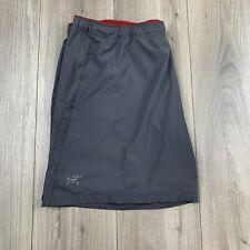 """Men's Gray ARC'TERYX lightweight running shorts workout gym lined liner 7"""" XL"""
