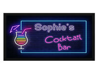 Personalised Cocktail Bar Mat / Runner - Add Your Name - Beer, Pub, Top