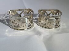 Antique Victorian Hallmarked Sterling Silver Pair of Napkin Rings Jones Brother