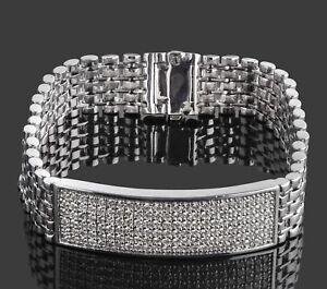 """2.90 Ct Men's ID Real Diamond Flexible Bracelet 14k White Gold 48.8g 8"""""""