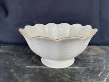 New listing Lenox China Large Footed Gold Rimmed Embossed Leaf Plume Centerpiece Fruit Bowl