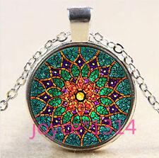Vintage Mandala Cabochon Tibetan silver Glass Chain Pendant Necklace #3589