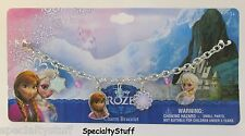 "NEW DISNEY FROZEN 7"" CHARM BRACELET 2MM METAL CHARMS DANGLE  ELSA ANNA (PD)"