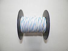 100 FOOT SPOOL 16 GAUGE GXL HI TEMP WIRE WHITE/BLUE STRIPE AUTOMOTIVE   FEET