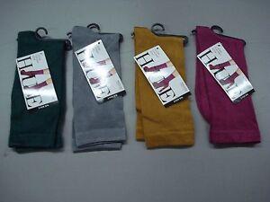 NWT Women's Hue Luster Flat Knit Socks One Size Multi 4 Pair #92J