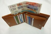 Soft Leather Man's Wallet Large Size Tan with 15 Credit Cards SLOT RFID Protect